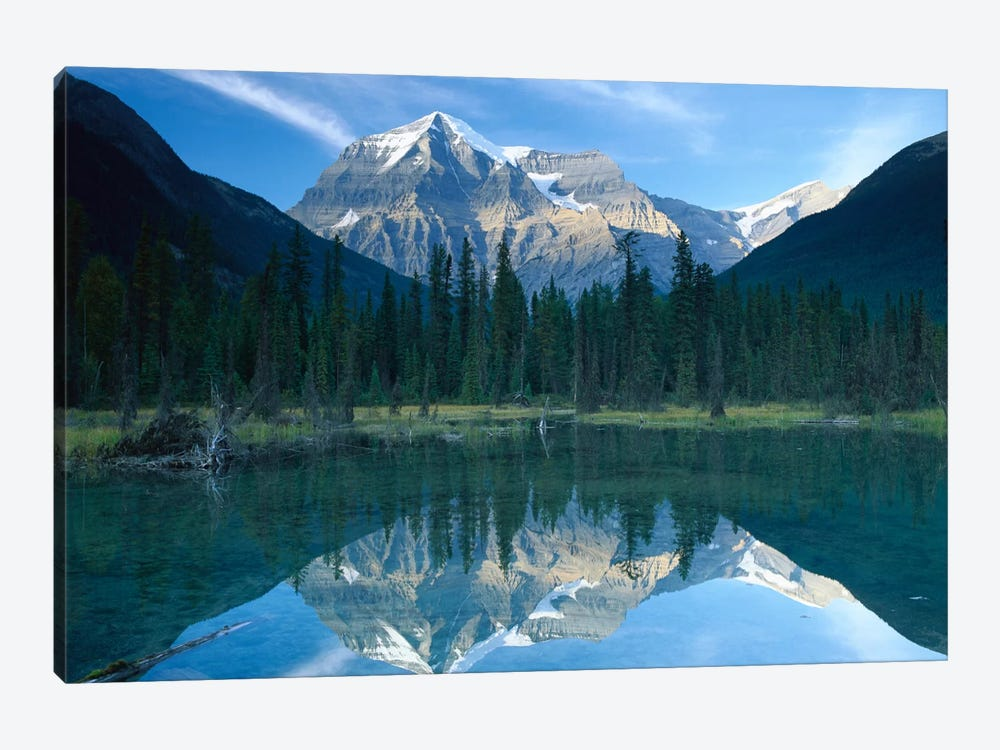 Mt Robson, Highest Peak In The Canadian Rocky Mountains, Reflected In Lake, British Columbia, Canada by Tim Fitzharris 1-piece Canvas Wall Art
