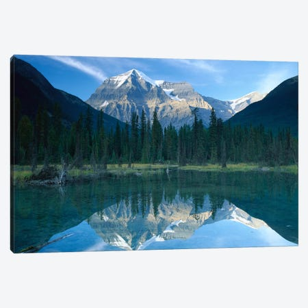Mt Robson, Highest Peak In The Canadian Rocky Mountains, Reflected In Lake, British Columbia, Canada 3-Piece Canvas #TFI671} by Tim Fitzharris Art Print