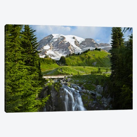 Myrtle Falls And Mount Rainier, Mount Rainier National Park, Washington Canvas Print #TFI679} by Tim Fitzharris Canvas Print