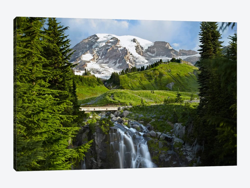 Myrtle Falls And Mount Rainier, Mount Rainier National Park, Washington by Tim Fitzharris 1-piece Canvas Artwork