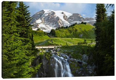 Myrtle Falls And Mount Rainier, Mount Rainier National Park, Washington Canvas Art Print