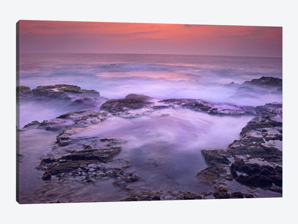 Ocean And Lava Rocks At Sunset, Pu'uhonua, Hawaii I by Tim Fitzharris 1-piece Canvas Art