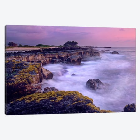 Ocean And Lava Rocks At Sunset, Pu'uhonua, Hawaii II Canvas Print #TFI708} by Tim Fitzharris Art Print