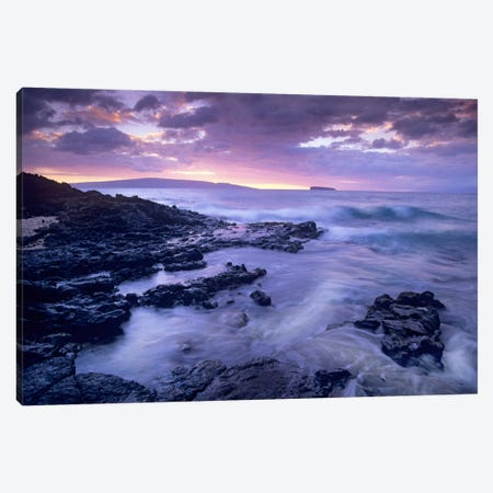 Ocean Surf Crashing On Lava Rocks At Molokini Crater, Maui, Hawaii Canvas Print #TFI709} by Tim Fitzharris Canvas Art Print