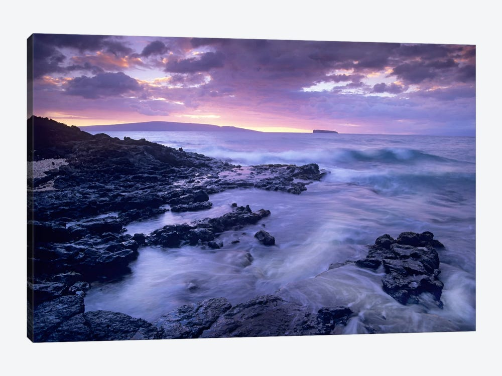 Ocean Surf Crashing On Lava Rocks At Molokini Crater, Maui, Hawaii by Tim Fitzharris 1-piece Canvas Artwork