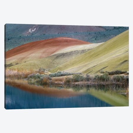 Painted Hills Reflected In Water, John Day Fossil Beds National Monument, Oregon Canvas Print #TFI754} by Tim Fitzharris Art Print