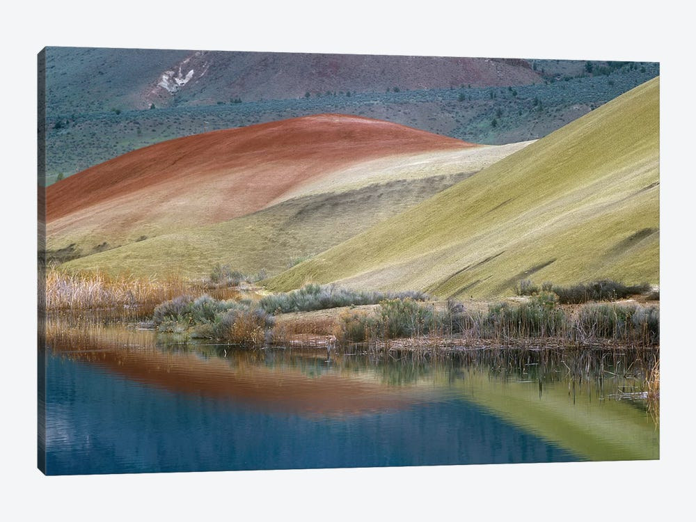Painted Hills Reflected In Water, John Day Fossil Beds National Monument, Oregon by Tim Fitzharris 1-piece Canvas Wall Art