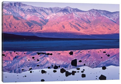 Panamint Range Reflected In Standing Water At Badwater, Death Valley National Park, California Canvas Art Print