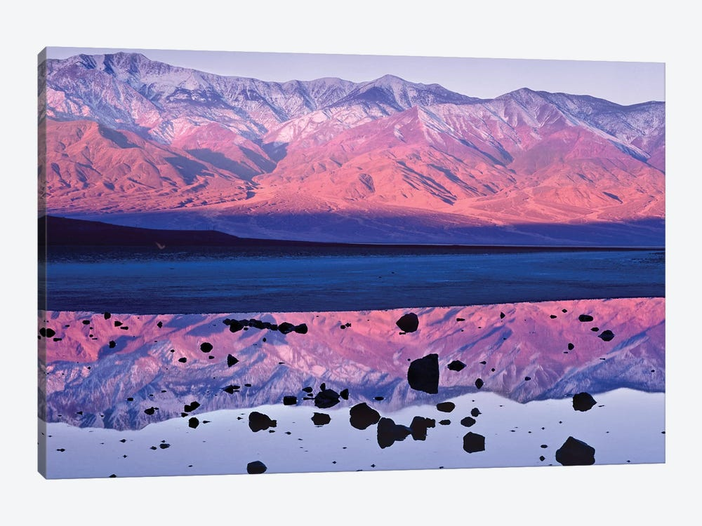 Panamint Range Reflected In Standing Water At Badwater, Death Valley National Park, California by Tim Fitzharris 1-piece Canvas Art Print