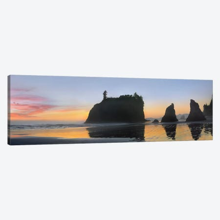 Panorama Of Abby Island And Seastacks Silhouetted At Sunset, Ruby Beach, Olympic National Park, Washington 3-Piece Canvas #TFI765} by Tim Fitzharris Canvas Art