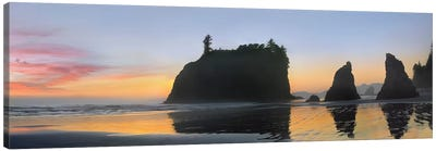Panorama Of Abby Island And Seastacks Silhouetted At Sunset, Ruby Beach, Olympic National Park, Washington Canvas Art Print