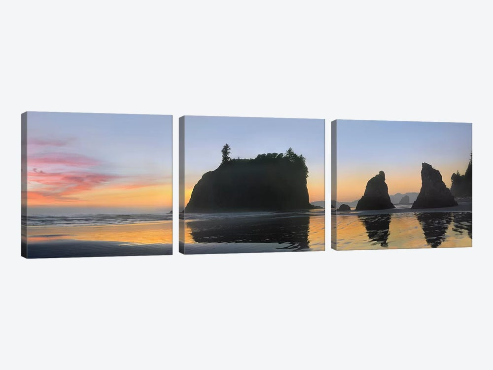 Panorama Of Abby Island And Seastacks Silhouetted At Sunset, Ruby Beach, Olympic National Park, Washington by Tim Fitzharris 3-piece Canvas Artwork