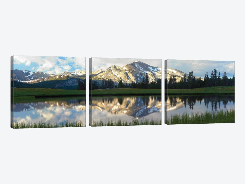Panorama Of Mammoth Peak And Kuna Crest Reflected In Seasonal Pool,Upper Dana Meadow, Yosemite National Park, California 3-piece Canvas Art Print