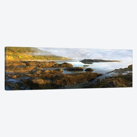Panorama Of Neptune Beach With Exposed Tide Pools At Low Tide, Oregon Canvas Print #TFI767} by Tim Fitzharris Canvas Wall Art