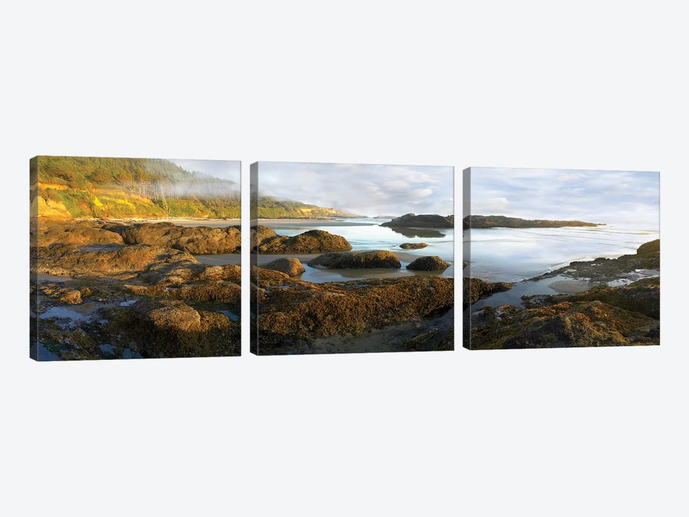 Panorama Of Neptune Beach With Exposed Tide Pools At Low Tide, Oregon by Tim Fitzharris 3-piece Canvas Wall Art