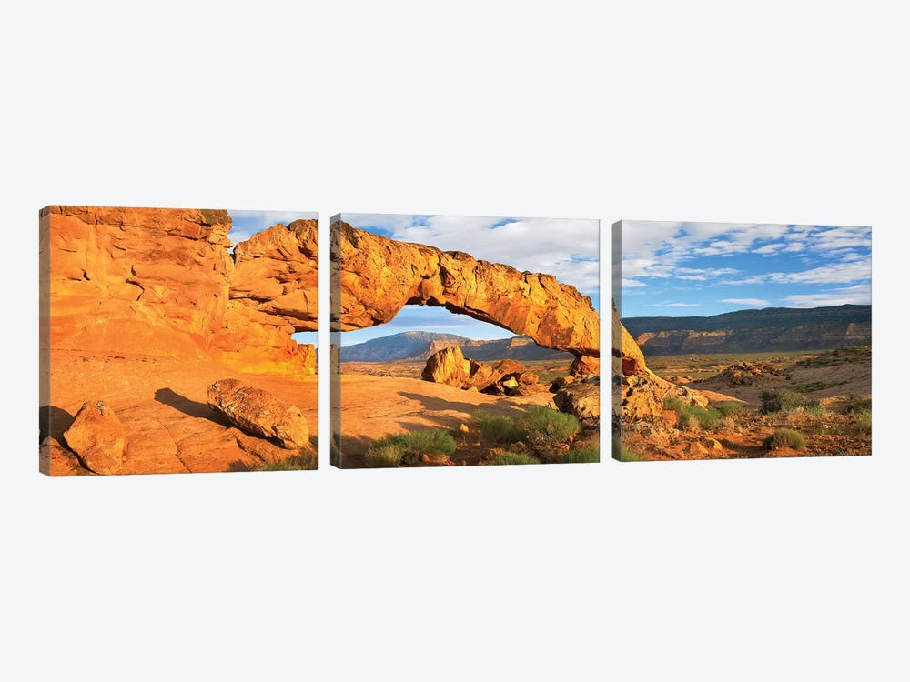 Panorama Of Sunset Arch, Escalante National Monument, Utah by Tim Fitzharris 3-piece Canvas Print