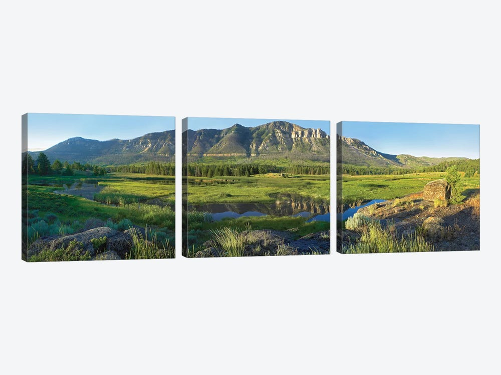 Panorama View Of Windy Mountain, Wyoming by Tim Fitzharris 3-piece Art Print