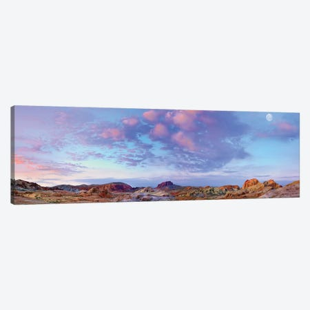 Panoramic Of Moon Over Sandstone Formations, Valley Of Fire State Park, Mojave Desert, Nevada Canvas Print #TFI772} by Tim Fitzharris Canvas Wall Art