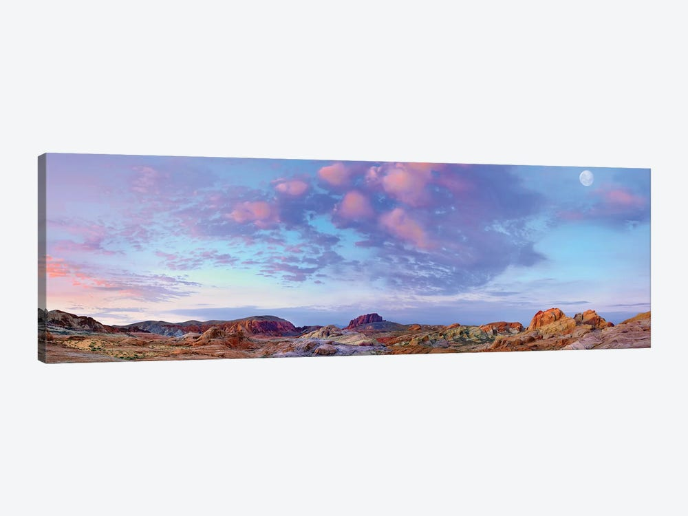 Panoramic Of Moon Over Sandstone Formations, Valley Of Fire State Park, Mojave Desert, Nevada by Tim Fitzharris 1-piece Canvas Wall Art