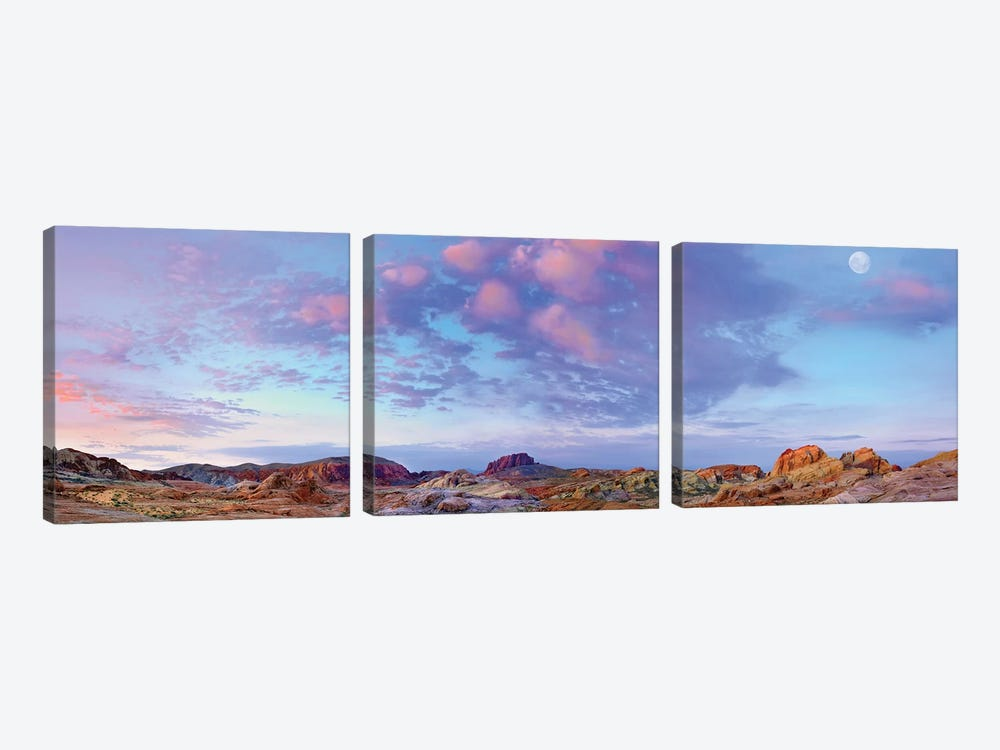 Panoramic Of Moon Over Sandstone Formations, Valley Of Fire State Park, Mojave Desert, Nevada by Tim Fitzharris 3-piece Canvas Artwork