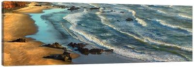 Panoramic View Of Incoming Waves At Bandon Beach, Oregon Canvas Art Print