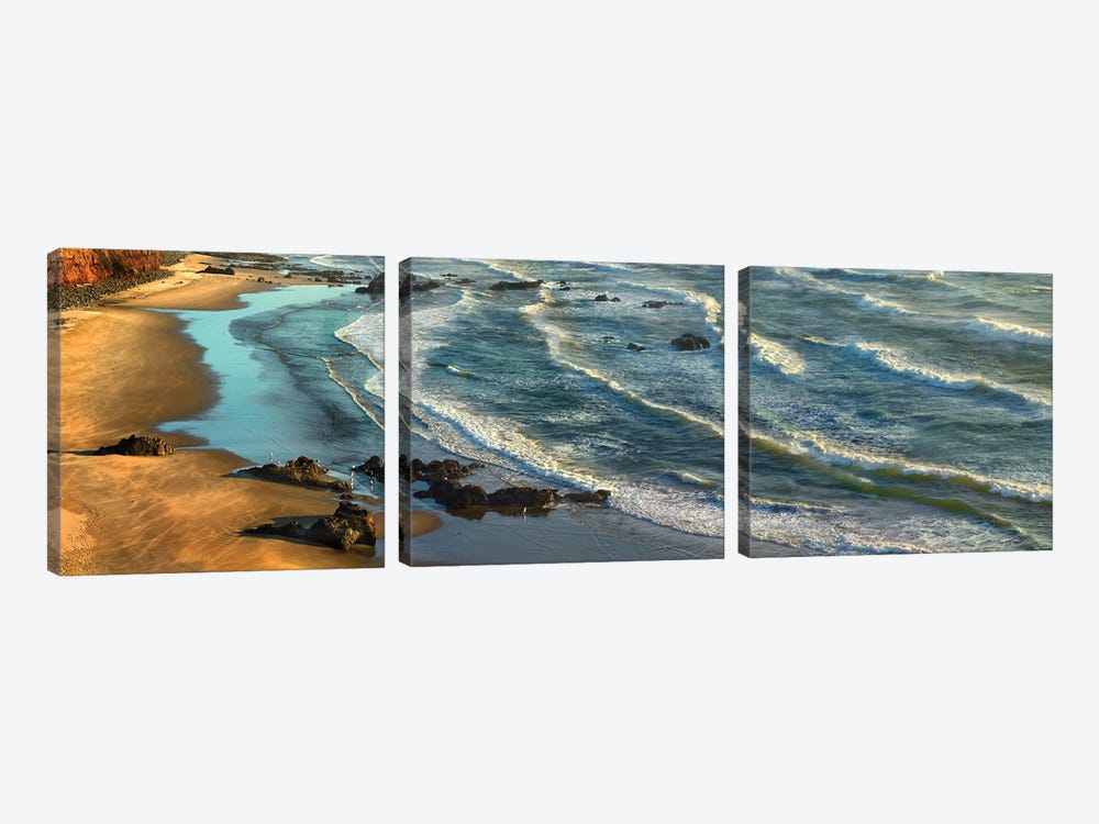 Panoramic View Of Incoming Waves At Bandon Beach, Oregon by Tim Fitzharris 3-piece Art Print