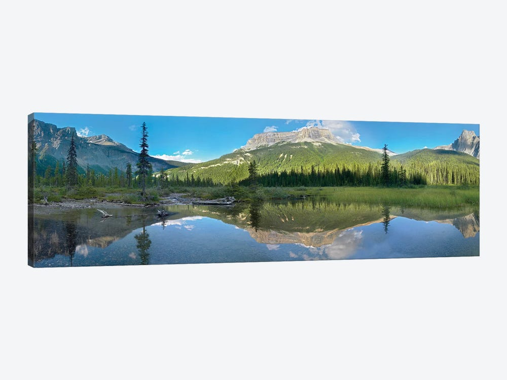 Panoramic View Of Mt Burgess Reflected In Emerald Lake, Yoho National Park, British Columbia, Canada 1-piece Canvas Art
