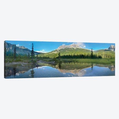 Panoramic View Of Mt Burgess Reflected In Emerald Lake, Yoho National Park, British Columbia, Canada Canvas Print #TFI774} by Tim Fitzharris Canvas Art Print