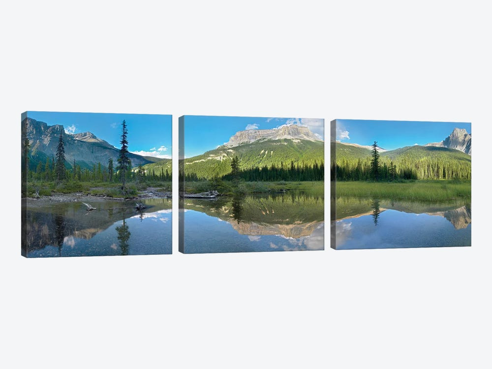 Panoramic View Of Mt Burgess Reflected In Emerald Lake, Yoho National Park, British Columbia, Canada by Tim Fitzharris 3-piece Canvas Art