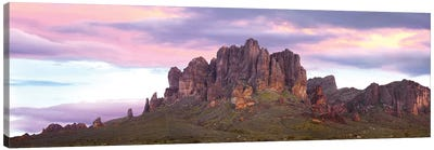 Panoramic View Of The Superstition Mountains At Sunset, Arizona Canvas Art Print