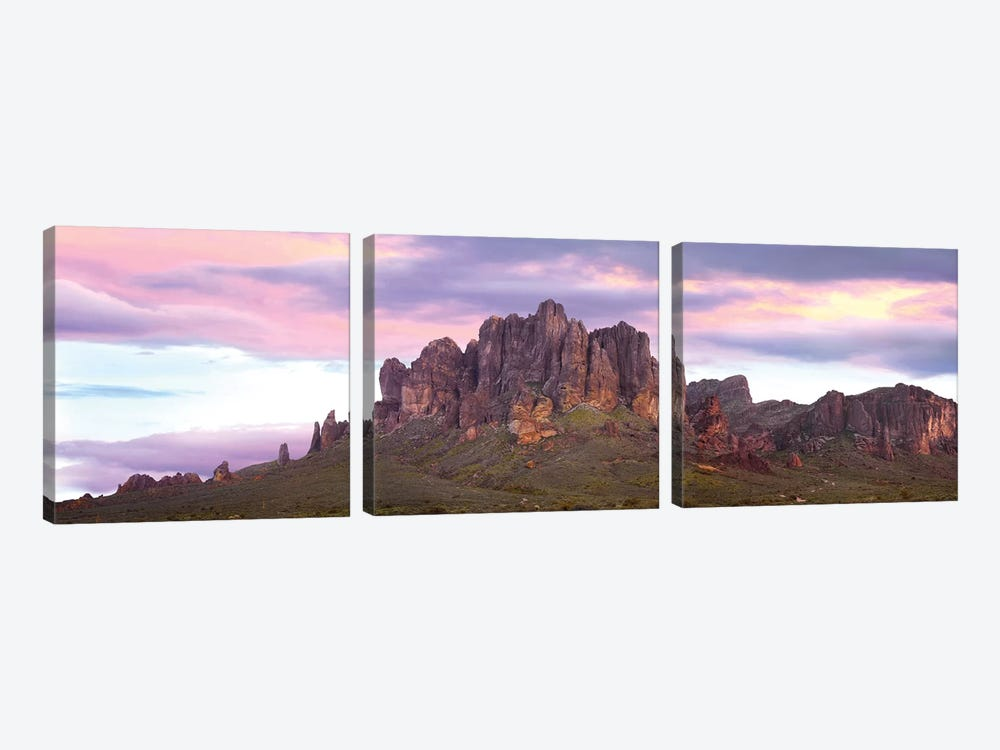 Panoramic View Of The Superstition Mountains At Sunset, Arizona by Tim Fitzharris 3-piece Canvas Art