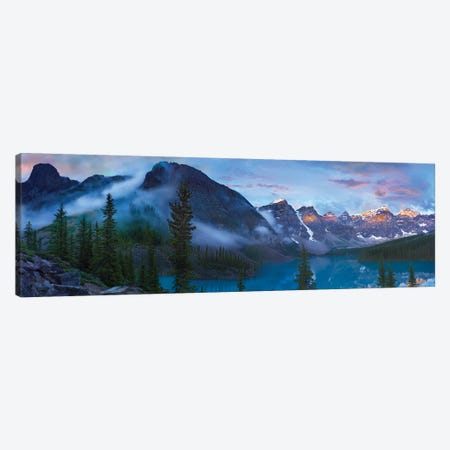 Panoramic View Of Wenkchemna Peaks And Moraine Lake, Valley Of Ten Peaks, Banff National Park, Alberta, Canada Canvas Print #TFI777} by Tim Fitzharris Canvas Print