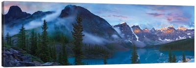Panoramic View Of Wenkchemna Peaks And Moraine Lake, Valley Of Ten Peaks, Banff National Park, Alberta, Canada Canvas Art Print