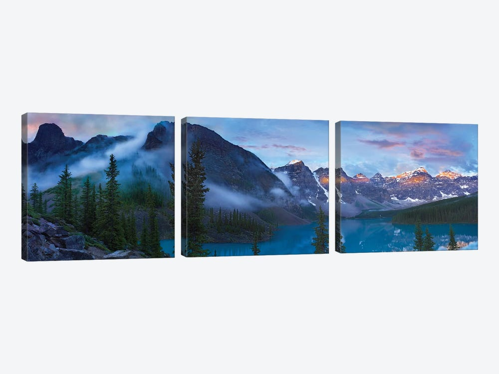 Panoramic View Of Wenkchemna Peaks And Moraine Lake, Valley Of Ten Peaks, Banff National Park, Alberta, Canada by Tim Fitzharris 3-piece Canvas Art Print