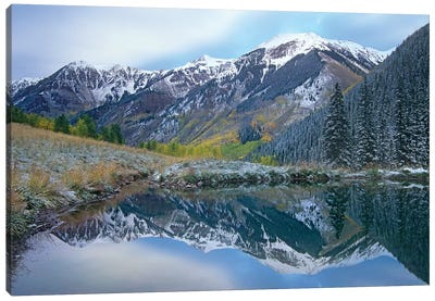Pond And Mountains, Maroon Bells-Snowmass Wilderness Area, Colorado Canvas Art Print