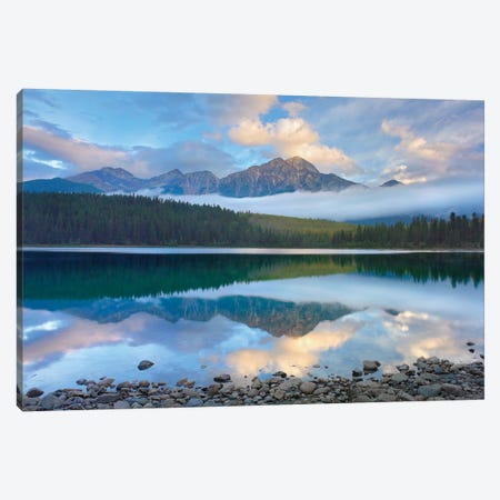 Pyramid Mountain And Boreal Forest Reflected In Patricia Lake, Jasper National Park, Alberta, Canada 3-Piece Canvas #TFI821} by Tim Fitzharris Canvas Wall Art