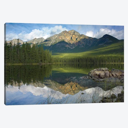 Pyramid Mountain And Pyramid Lake, Jasper National Park, Alberta, Canada 3-Piece Canvas #TFI822} by Tim Fitzharris Canvas Wall Art