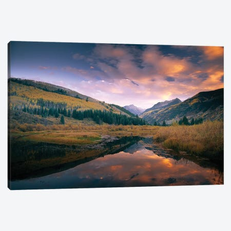 Ragged Peak And Chair Mountain Reflected In Lake, Raggeds Wilderness, Colorado Canvas Print #TFI853} by Tim Fitzharris Canvas Art Print