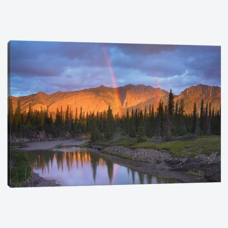 Rainbow Over Fairholme Range And Exshaw Creek, Alberta, Canada Canvas Print #TFI858} by Tim Fitzharris Art Print