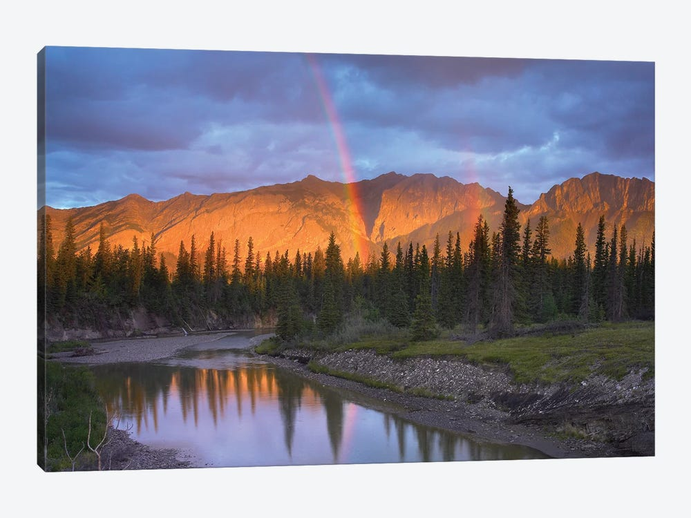 Rainbow Over Fairholme Range And Exshaw Creek, Alberta, Canada by Tim Fitzharris 1-piece Canvas Wall Art