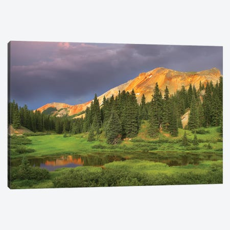 Red Mountain And Pond, Near Ouray, Colorado Canvas Print #TFI866} by Tim Fitzharris Art Print
