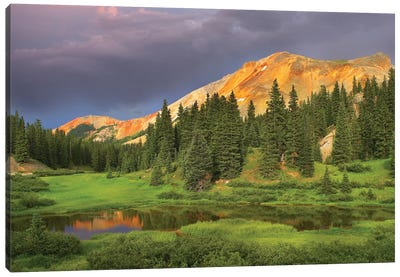 Red Mountain And Pond, Near Ouray, Colorado Canvas Art Print