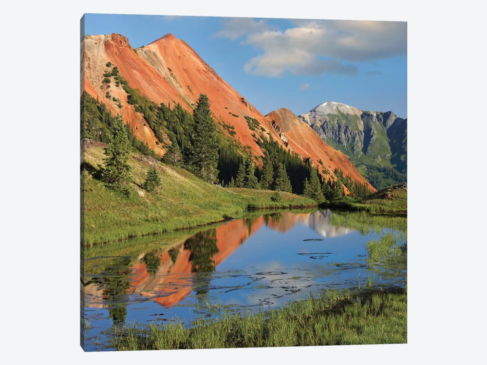 Red Mountain Gets Its Color From Iron Ore In The Rock, Gray Copper Gulch, Colorado 1-piece Canvas Art