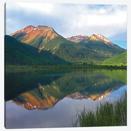 Red Mountain Reflected In Crystal Lake, Colorado Canvas Print #TFI868} by Tim Fitzharris Canvas Wall Art