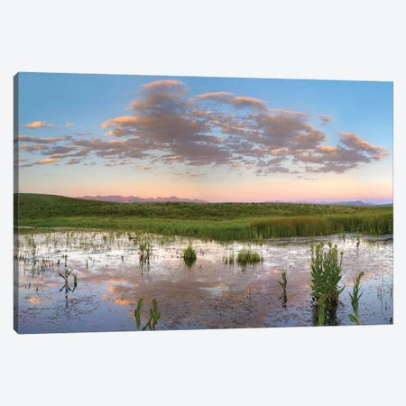 Reflection Of Clouds In The Water, Arapaho National Wildlife Refuge, Colorado Canvas Print #TFI879} by Tim Fitzharris Art Print