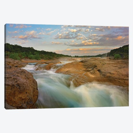 River In Pedernales Falls State Park, Texas 3-Piece Canvas #TFI890} by Tim Fitzharris Canvas Art Print