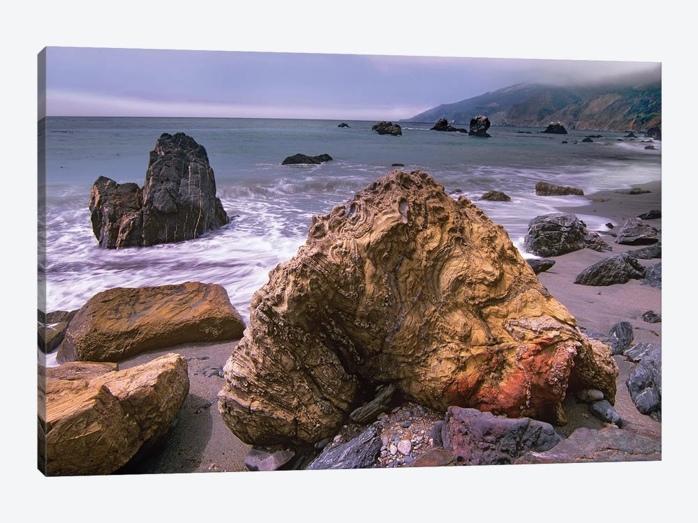 Rocks On Kirk Creek Beach, Big Sur, California by Tim Fitzharris 1-piece Canvas Art Print