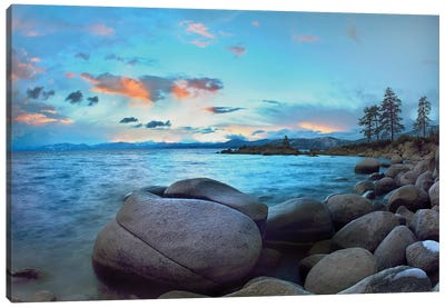 Rocky Shoreline Along Hidden Beach, Lake Tahoe, Nevada Canvas Art Print
