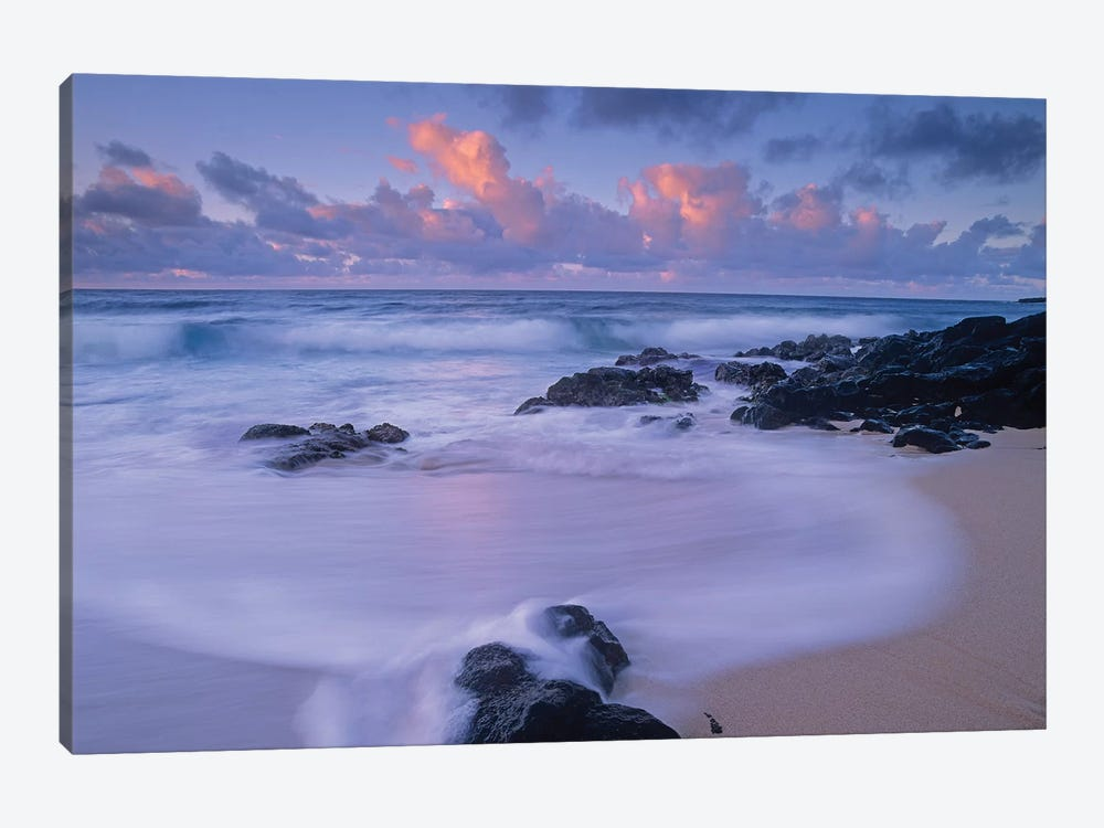 Rolling Waves At Dusk At Sandy Beach, Oahu, Hawaii 1-piece Canvas Print