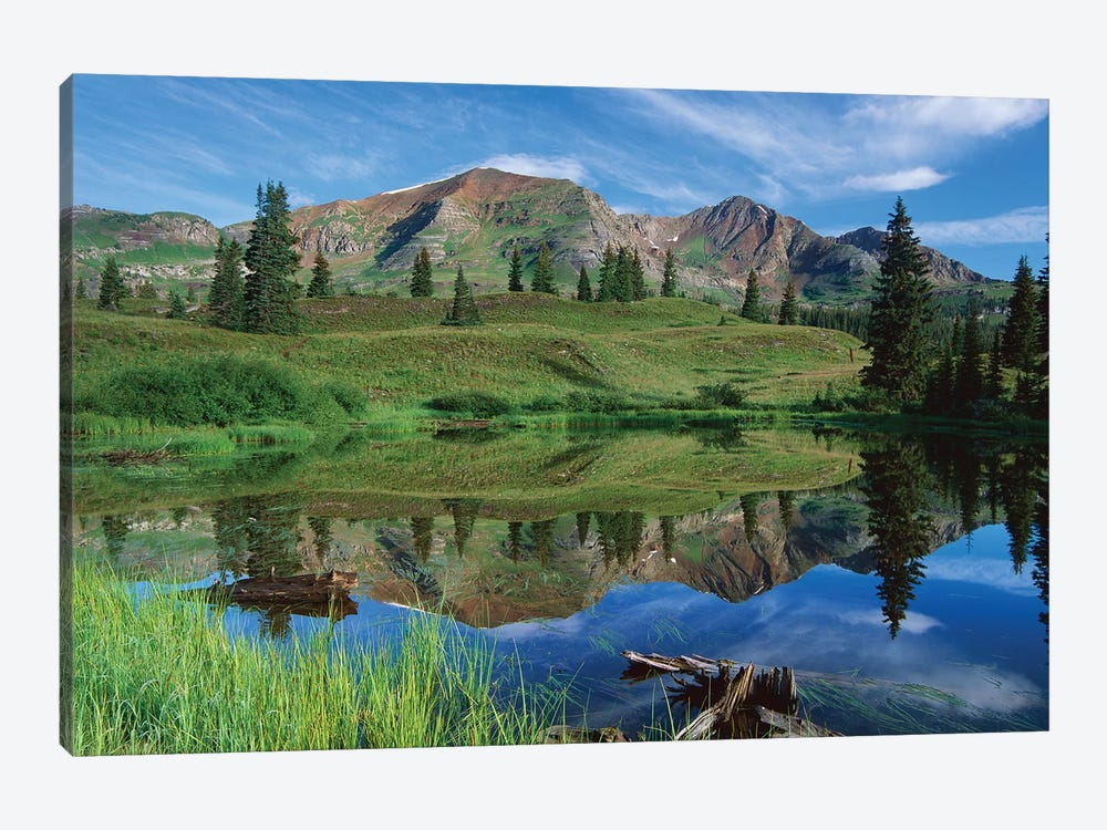 Ruby Peak Reflected In Lake, Raggeds Wilderness, Colorado by Tim Fitzharris 1-piece Canvas Art Print